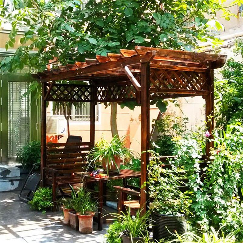 实木葡萄架凉亭防腐木屋户外庭院凉亭桌椅花园爬藤架特价包邮定制