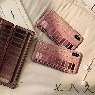 新款创意眼影盒苹果iphone7/8plus手机壳XR硅胶软壳XSMAX个性女款