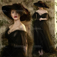 Exhibition new studio theme wedding dress word shoulder black female costume dress long skirt photo dress catwalk art photo
