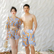 New Couples Swimwear Bikini Four sets Steel tray Gathering Small chest Spa Couple Vacation Men's Beach pants
