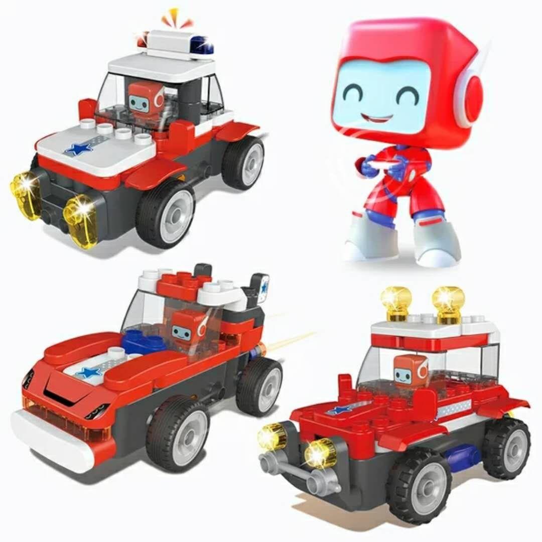 杨名百变布鲁可可可拼装科技警车儿童葡萄救护车积木布鲁克积木玩用小队拼擎天柱图片