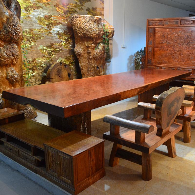 古木轩艺术家具 巴西花梨大板 原木茶桌办公桌 实木大餐桌大班台