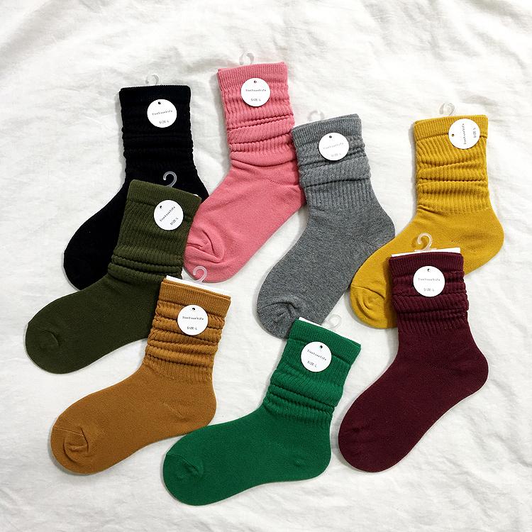 现代舞民族舞爵士芭蕾舞蹈袜子女士中筒防滑堆堆袜棉袜练功长筒袜
