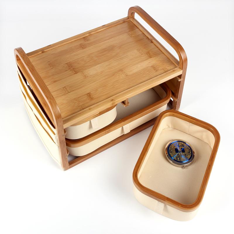 小助手竹制桌面收纳盒化妆品收纳架饰品收纳柜多功能家居整理图片