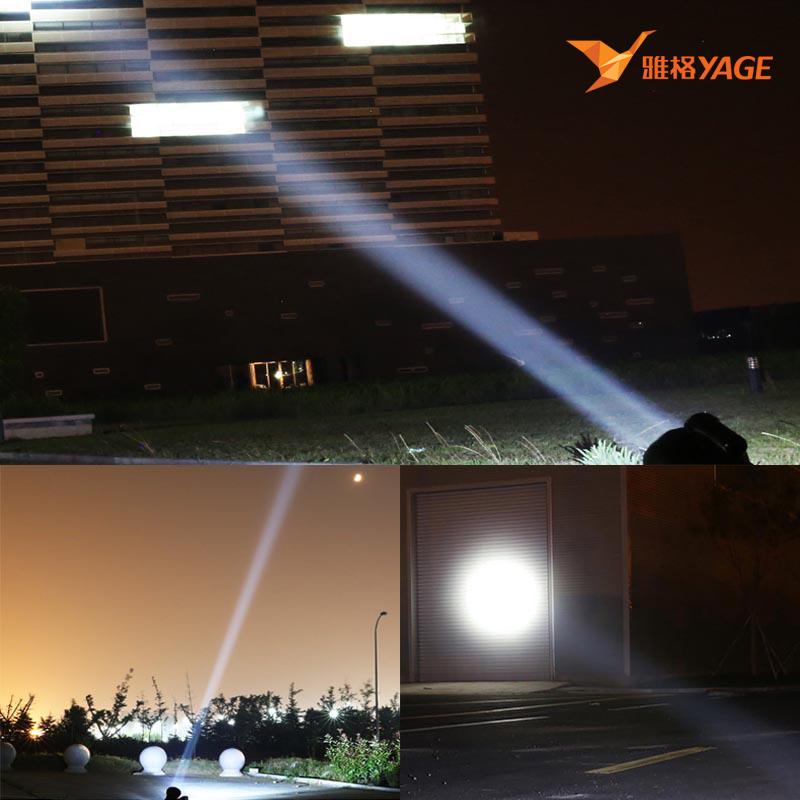 雅格LED探照灯强光充电式远程高亮远射手提灯矿灯家用手电筒手灯