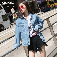 2019 spring and autumn new Korean version of the Hong Kong-flavored bf wind loose wild denim shirt female students short jacket jacket tide