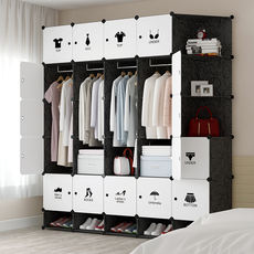 Simple Wardrobe Assembly Plastic Storage Cabinet Rental Small Bedroom Household Storage Simple Modern Economy Cloth Wardrobe