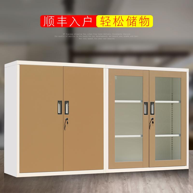 新品包邮钢制文件柜财务凭证资料档案铁皮柜带锁小矮移门柜储物柜