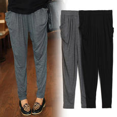 Summer and autumn new female casual pants nine points large size loose trousers feet pants was thin Modal Haren thin tide