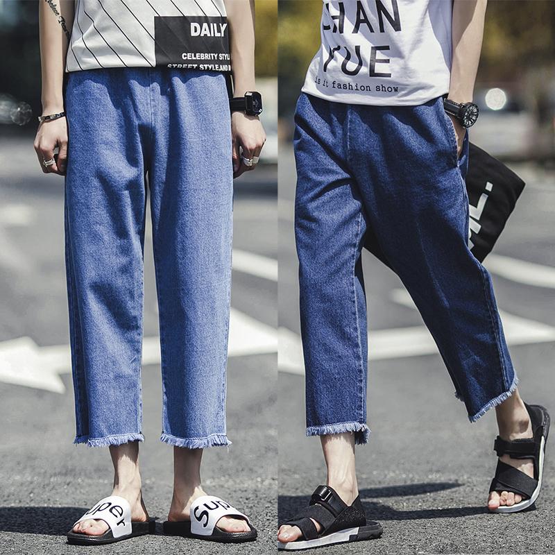 潮男式夏季牛仔裤薄款韩版宽松直筒九分裤青年简约bf阔腿裤8分裤