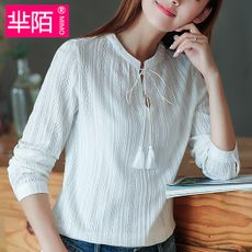 Cotton shirt blouse autumn clothes autumn long-sleeved clothes on the soil in the village inch inch 忖 cedar wear no collar leisure