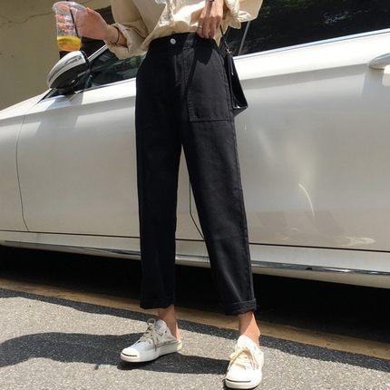 2018韩版时尚百搭女生帅气裤子潮显瘦直筒高腰纯色学生牛仔裤女秋