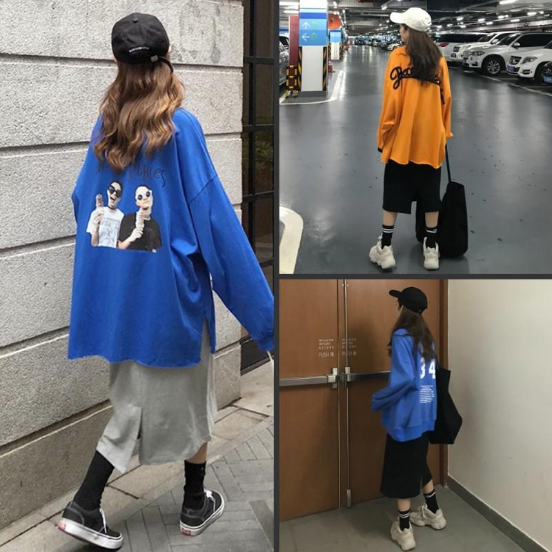 2018新款韩版原宿百搭ins长袖上衣中长款纯色半身裙学生套装女秋