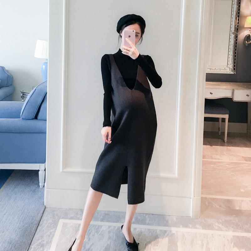 孕妇秋装套装时尚款2018秋季新款女针织背带裙两件套宽松休闲冬装