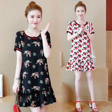 Plus fertilizer XL women's 2018 summer new fat MM ageing printing loose thin A word dress 200 kg