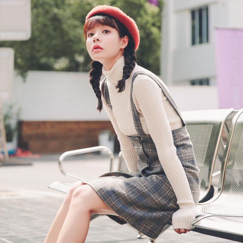 毛呢背带裙女学生韩版2018新款春秋裙子连衣裙两件套小清新套装裙