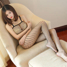 Sexy fishnet stockings pantyhose sexy lingerie stockings female black sling hollow transparent temptation one-piece mesh