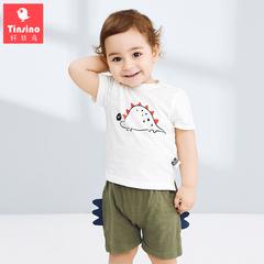 纤丝鸟童装男童夏装短袖洋气套装1-3岁宝宝新款女童t恤短裤两件套