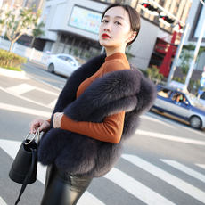 Han Wei 2018 new slim slimming imitation fox fur fashion fur vest female short fur vest jacket autumn