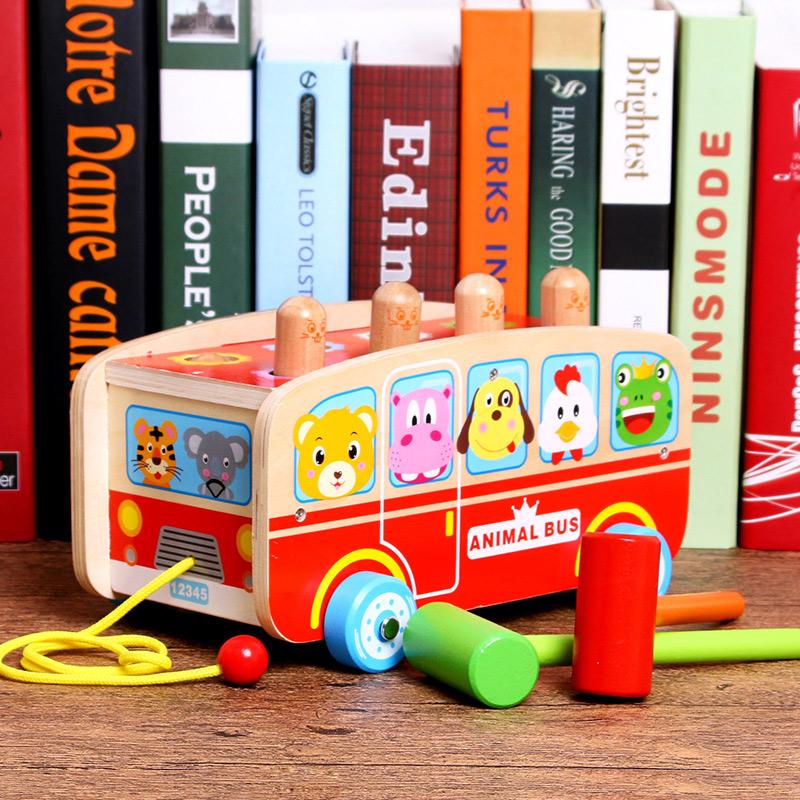 大号木制敲击拖车打地鼠玩具2-3-6岁宝宝益智早教亲子互动玩具