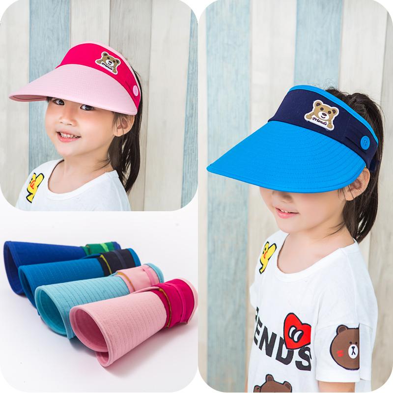 遮阳帽儿童帽子太阳帽大檐空顶帽