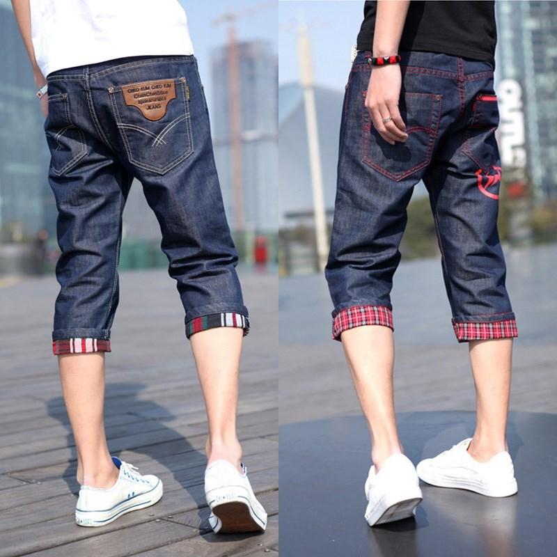 夏季薄款七分裤韩版牛仔短裤青少年男士直筒修身中裤子男生马裤新