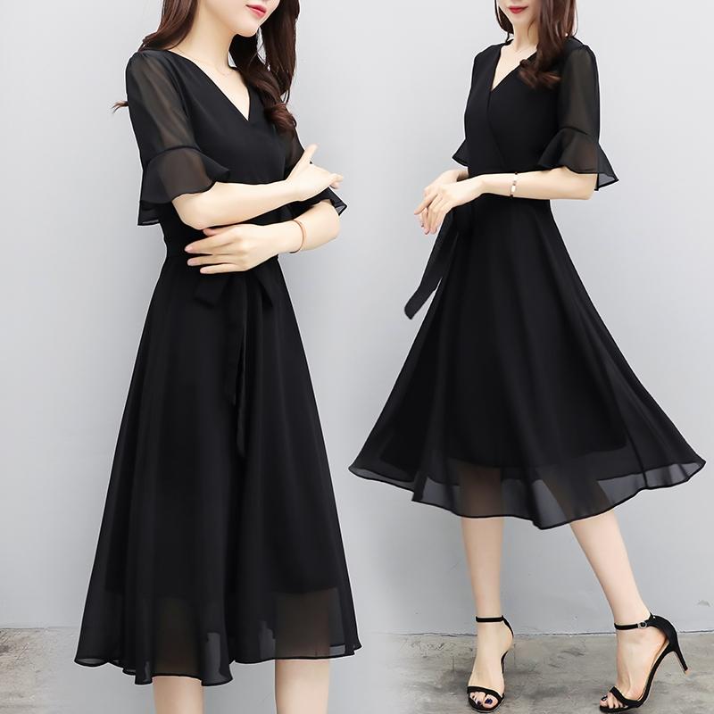 赫本小黑裙女装2018夏季新款修身显瘦黑色雪纺连衣裙气质中长裙