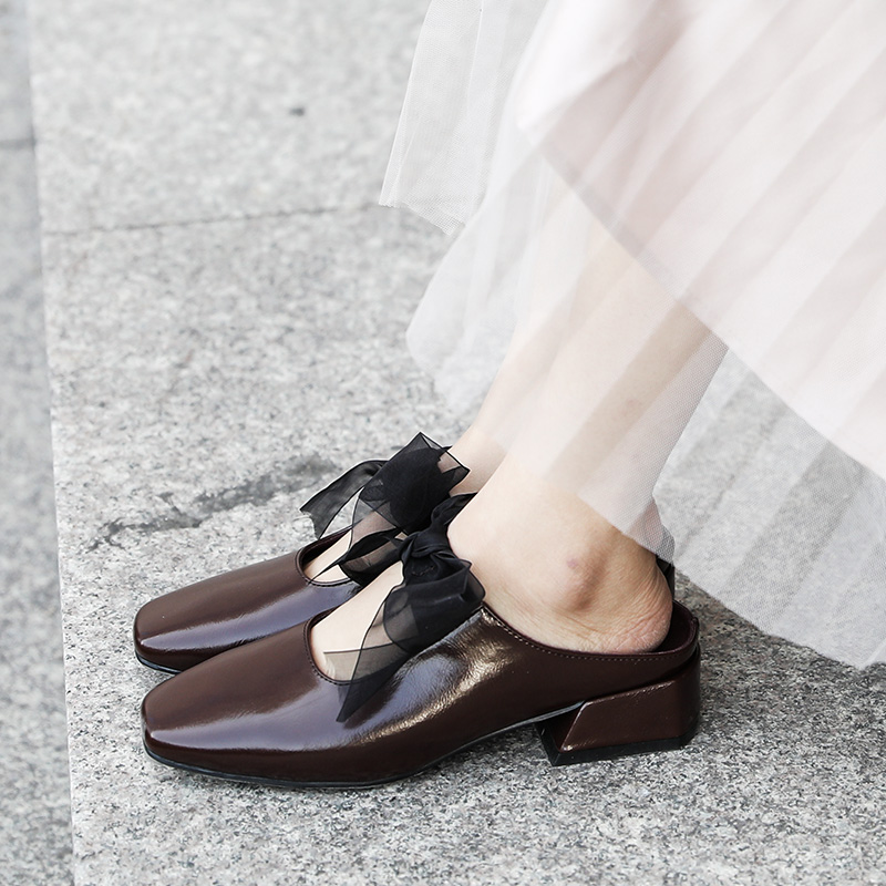 足伊妮凉拖鞋女春季2018新款粗跟中跟包头半拖百搭韩版外穿穆勒鞋