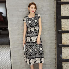 Cool new printing Slim round neck short sleeve commuter head long section A-type dress 16332
