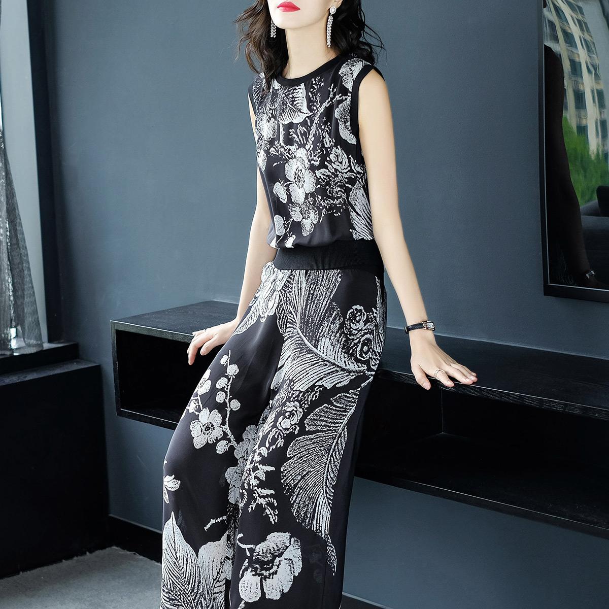 2018春夏新品真丝两件套无袖上衣印花休闲裤女装套装