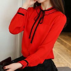 Spring and Autumn new large size women's loose bow fat mm red chiffon shirt shirt shirt long sleeve bottoming shirt