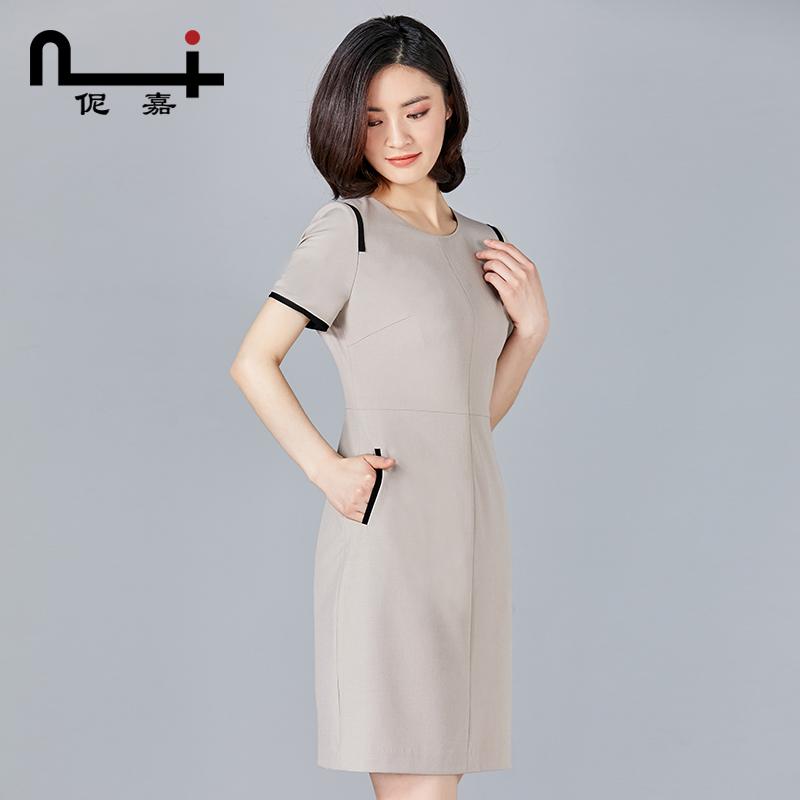 女士职业连衣裙女2018新款时尚气质高端修身显瘦中长款夏季一步裙
