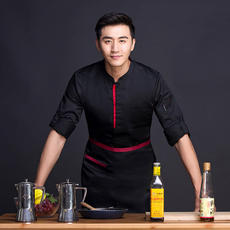 Chef clothes men's long sleeve kitchen seven-point sleeves autumn and winter work clothes single-breasted Chinese style thickening hotel hotel