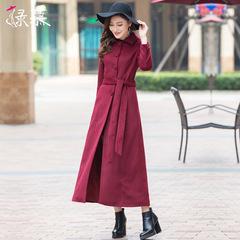 呢子大衣女2017秋冬新款韩版女装毛呢外套长款过膝单排扣羊毛大衣