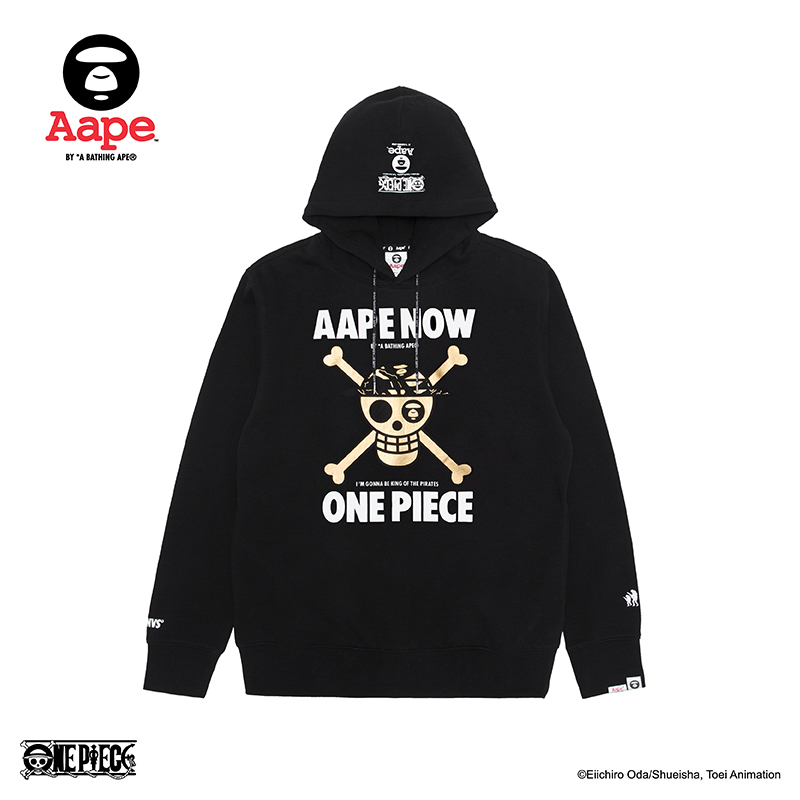 Aape×OnePiece联名款航海王x-bone印花连帽加绒卫衣9265XXB