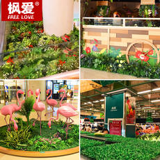 Simulation plant wall artificial turf fake flower indoor background wall green turf mat ground shopping mall window decoration