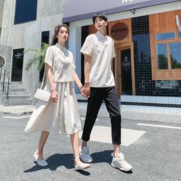 情侣装夏装2019新款ins套装法国小众设计感女连衣裙子中国风汉服