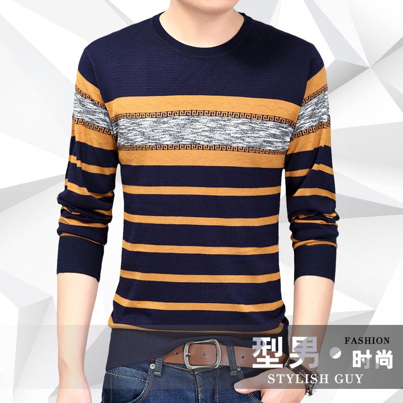 18秋季新款男士长袖条纹针织衫 男装薄款套头打底针织羊毛衫上衣