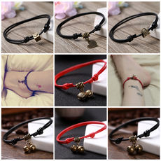 Korean version of the personality bell anklet rope men and women Sen red rope student jewelry retro black girlfriends foot chain small fresh