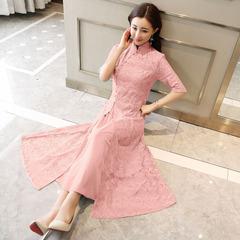 大码旗袍裙改良胖mm粉色蕾丝订婚礼服连衣裙参加婚礼的衣服女春夏
