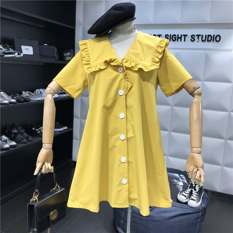 2019新款女装春夏季宽松纯色娃娃领排扣短袖仙女木耳边显瘦连衣裙