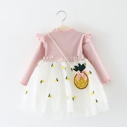 童装女小童连衣裙春秋季儿童长袖网纱公主裙子0一1-3岁女宝宝秋装