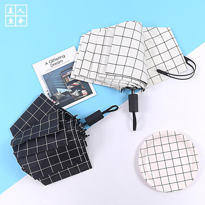 太阳伞女神黑胶遮阳防晒简约格子创意折叠晴雨两用小清新自动雨伞