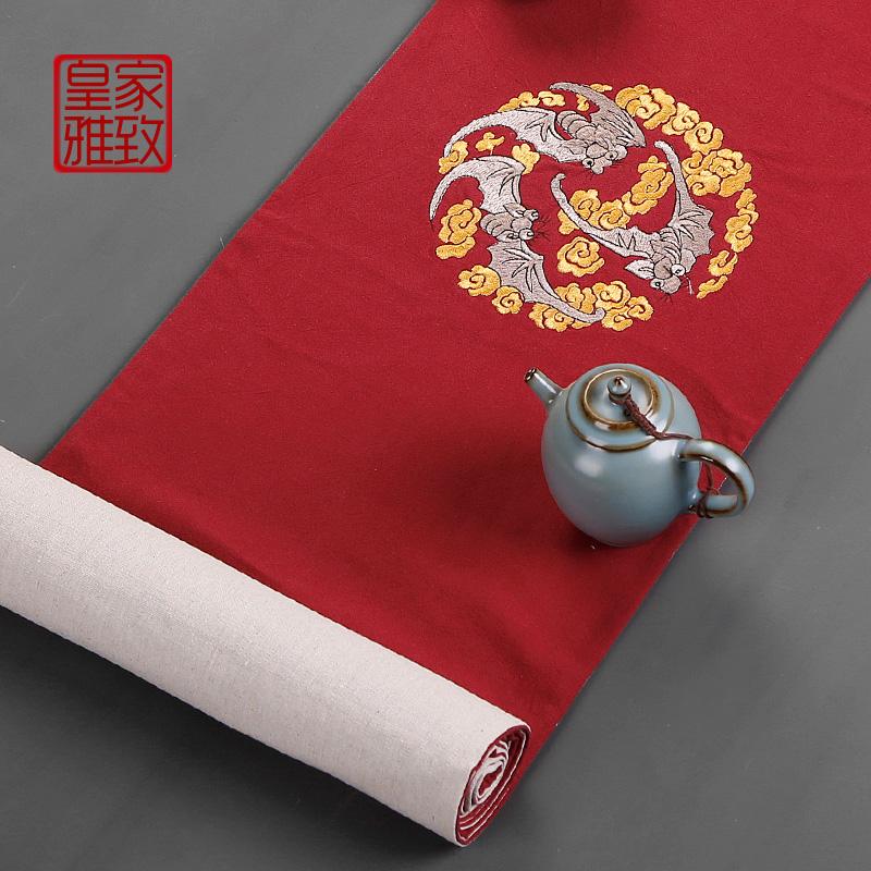 茶具垫子手绘茶席刺绣桌布茶巾防水桌旗摆件禅意麻布料布艺中国风