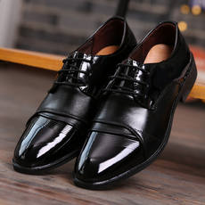 Men's Business Wedding Photography Groom Wedding Shoes Men's Black Tip Photo Studio Photo Performance Hotel Work Leather Shoes