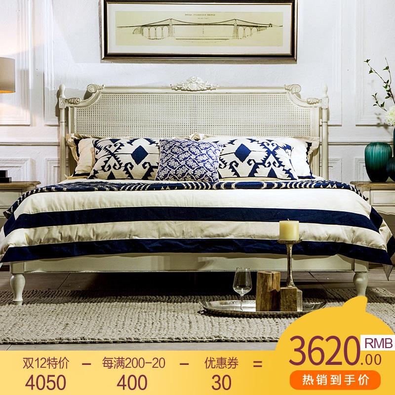 法式乡村复古白美式简约风格别墅家具1.8M双人床实木床藤床藤编床
