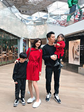 LUSON parent-child wear winter dress mother and daughter skirt foreign parent-child dress a four-button sweater family home decoration