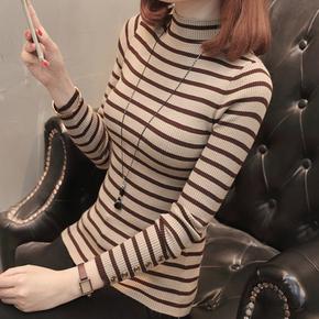 春装2018新款打底针织衫修身韩版条纹半高领毛衣短款长袖打底百搭