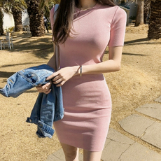中袖连衣裙纯棉包臀修身打底性感显瘦中长款韩版女装紧身打底裙潮