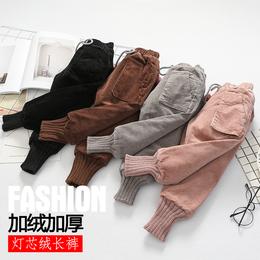女童加绒加厚灯芯绒裤中小童儿童宝宝三层条绒棉裤冬季装新款外穿